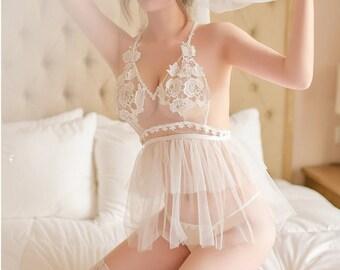 f783ac01cf6 Sexy Erotic Bridal Lingerie Sheer White Lace Lingerie Set Sheer Bra Sheer  Panties See Through Sheer Lingerie Baby Doll Thong Honeymoon