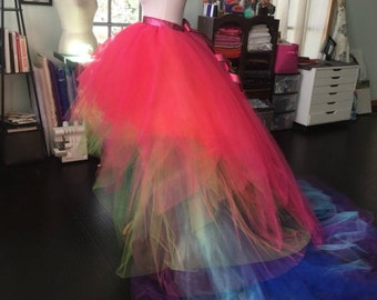 698df60965 Custom high low pride skirt rainbow dress skirts multicolor bright colorful  tutu skirt multicolored tulle high low train skirt layers