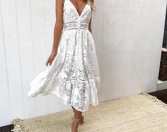98f3a7849ba Chic Boho White Dress for Bridal Shower Dress Classy White Lace Dress White  Boho Dress Summer Wedding Reception Dress Boho Wedding Dresses