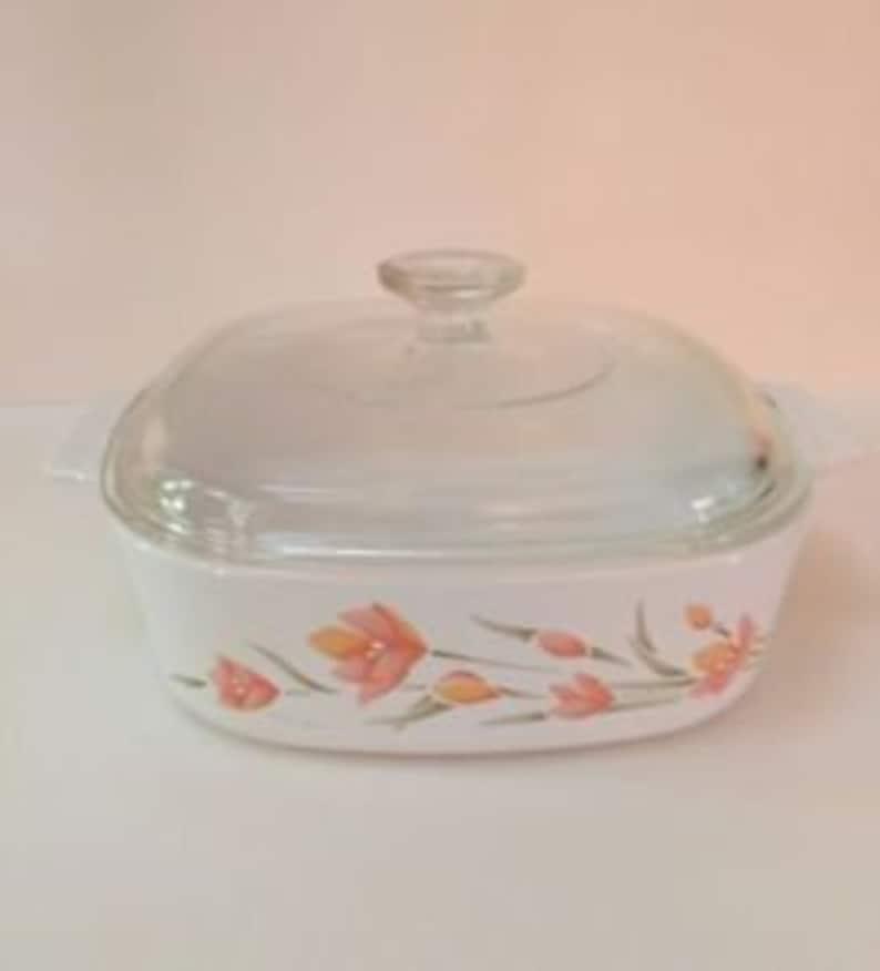 Vintage CorningWare Peach Floral Casserole A-1-B With Pyrex A-7-C Lid