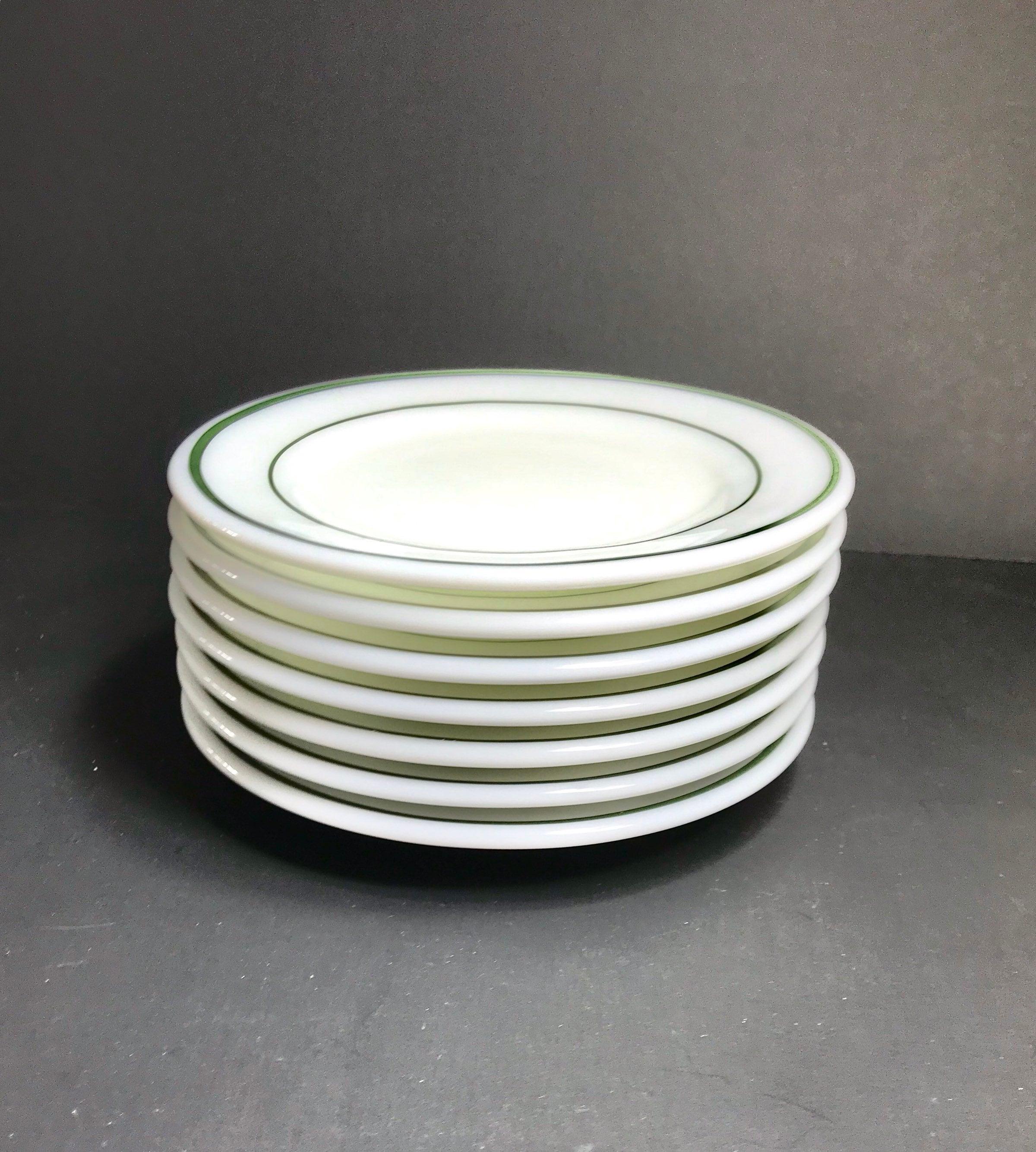4441b646dff2c Vintage Corning Plates Green Band Opal Dinnerware Plates 7 Salad Plates