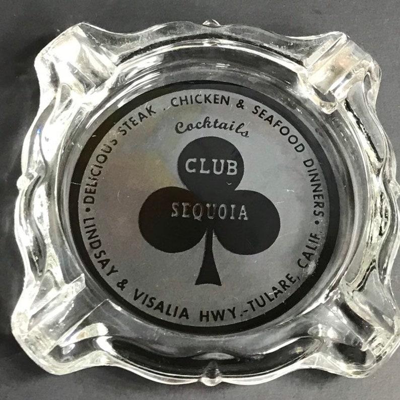 Vintage Club Sequoia Ashtray Bar Ashtray Green Visalia Tulare California