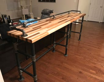 Bon Industrial Black Pipe Butcher Block Couch Table.