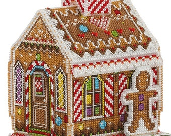 3D Gingerbread house embroidery kit Counted Cross Stitch Hand Embroidery 3D Kit Christmas 3D Cross Stitch Kit Xmas DIY Decoration Kit