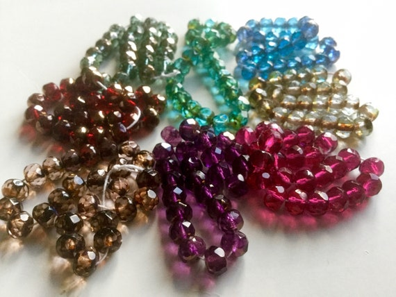 Olivine Green 25 Hexagon Tubes 10 mm x 4 mm Czech Glass Beads  Hyacinth Aqua Saphire Transparent AB