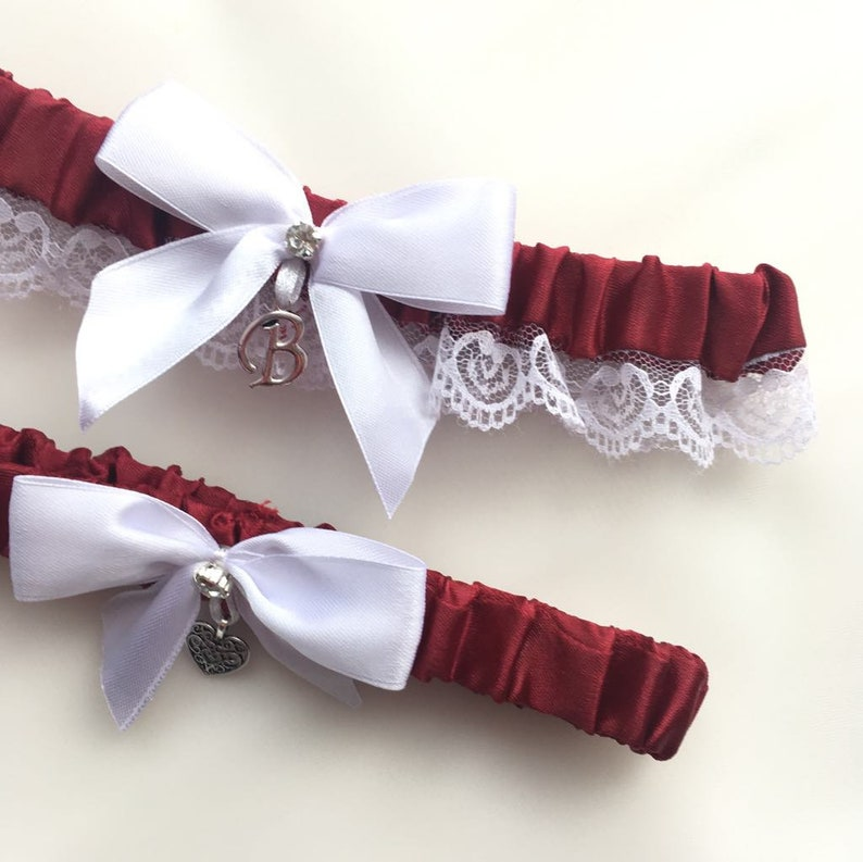26a922c55cd Wedding Garter Set Wine and White Lace Wedding Garter Burgundy