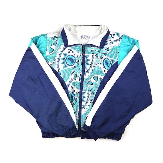 Vintage Puma Outlined Floral Pattern Windbreaker Jacket