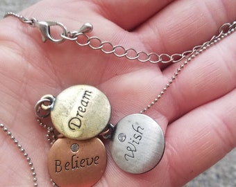 Free Shipping!! Dream/Wish/Believe necklace, dream necklace, wish necklace, dream necklace, pendant necklace, charm necklace