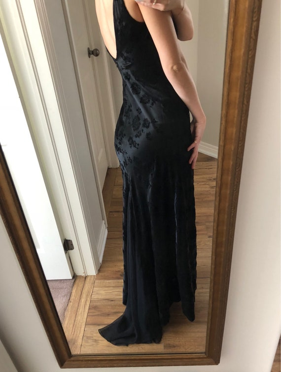 Black embroidered gown, black gown, floor length v