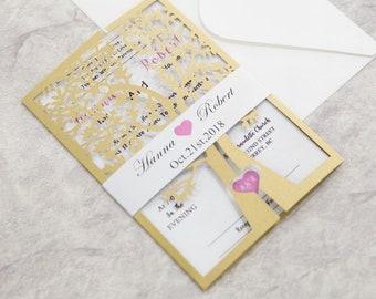 Tree Laser Cut Wedding Invitation in Gold with Birds