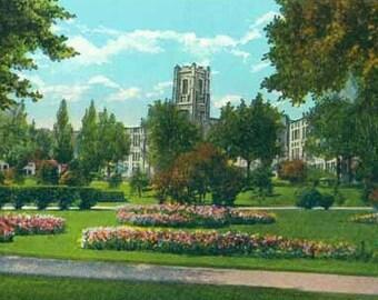 Denver West High School from Sunken Gardens in Colorado -  White Border Linen Photo Postcard
