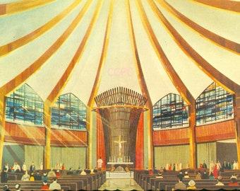 New York World's Fair '64-65 Vatican Pavilion Chapel of Good Shepherd Photo Postcard