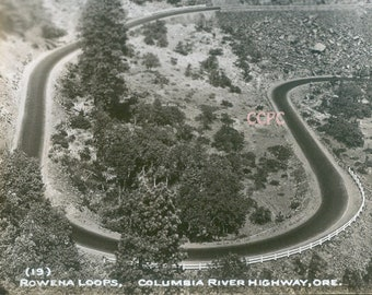 Rowena Loops Columbia River Highway Oregon Real Photo Postcard