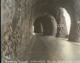 Mitchell Tunnel Columbia River Highway Oregon Real Photo Postcard