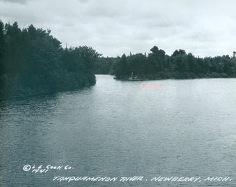 Tahquamenon River Newberry Michigan Real Photo Postcard RPPC
