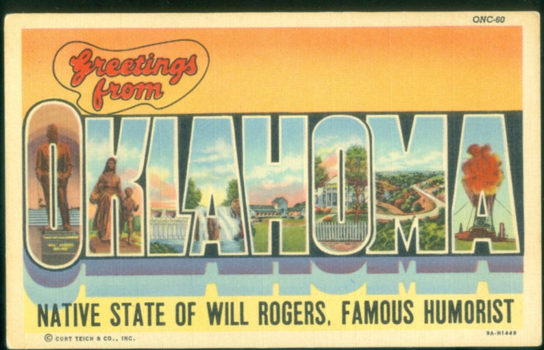 Oklahoma Big Letter Greetings Photo Postcard Undated Native State of Will Rogers