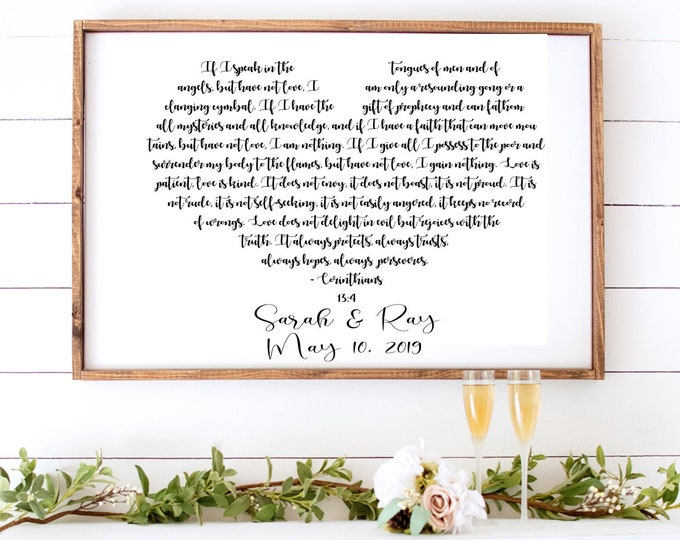 Featured listing image: Master Bedroom Sign, Love is Patient Canvas Print, 1 Corinthians 13 4, Wedding Vow Word Art, Bedroom Wall Decor, Wedding Gift for New Couple