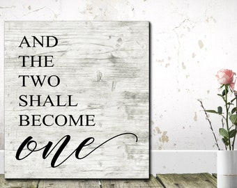 Wedding Sign, The Two Shall Become One, Wedding Props, Wedding Decor, Wedding Sign Wood, Bedroom Sign, Wedding Prop Signs, Wedding Gift
