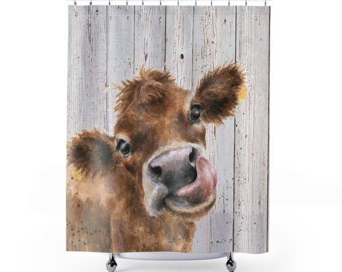 Featured listing image: Shower Curtain, Watercolor Cow Wood, Shower Curtains, Calf Fabric Liner, Funny Bathroom Decor, Unique Fun Gifts, Decorative Bath