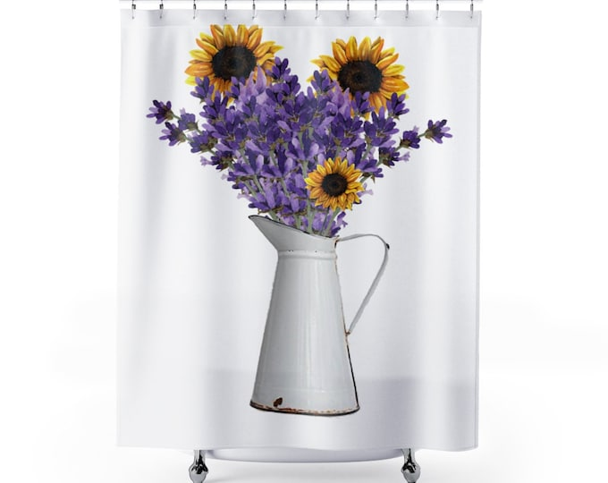 Featured listing image: Sunflower Shower Curtain 71 x 74 Inch, Shabby Chic Fabric Liner, Purple and Yellow Farmhouse Shower, Rustic Floral Sunflower lover Gift