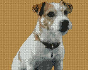 "Jack Russell Dog puppy Counted Cross Stitch Kit 10"" x 13"""