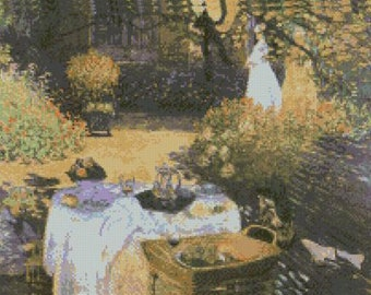 """Monet le dejeuner The Luncheon Counted Cross Stitch Kit 15/"""" x 11/"""" 38.3cm x28.7cm"""