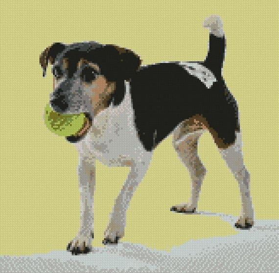 """JACK RUSSELL 2 Counted Cross Stitch Kit 7/"""" X 6/"""" 18 cm x 15 cm Free p/&p"""
