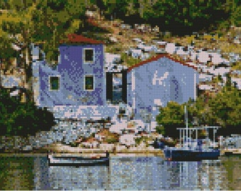 "Greek Harbour Scene Counted Cross stitch Kit 15"" x 8.5"""