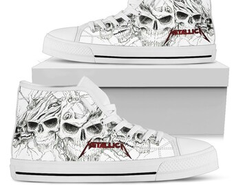 e79f223648a METALLICA Skull Shoes - Heavy Metal Band - Rock Festival Shoes - High Top  Shoes Limited Edition