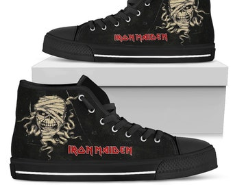 cbfab829e303c3 IRON MAIDEN Shoes - Powerslave - Vintage Shoes Classic Rock -Black Metal  Shoes - Heavy Metal Band - High Top Shoes Limited Edition
