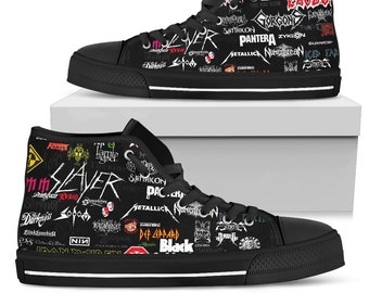 8b424bc5dba4 Rock Shoes - Collection of Rock Band - Rock Bands - Rock Festival Shoes -  Heavy Metal Band - High Top Shoes Limited Edition