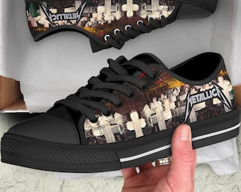 586d76a087a4 METALLICA Master Of Puppets Classic Rock Metal Concert Tour Black Shoes -  Canvas shoes - Converse Style - Low Top Limited Edition