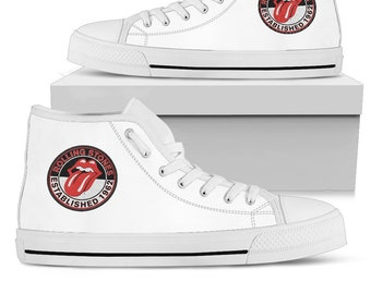 662d6b703c31 Rolling Stones Shoes White - Converse Style - Classic Logo Vintage - Black  Shoes - Rolling Stones patch