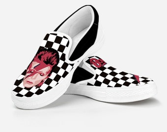 b8c69e7ce4e5a0 David Bowie Slip On - Caro Bowie Old Skool - Ziggy Stardust - Custom Canvas  Shoes - Vans Style Limited Edition