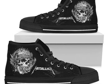 ea0f16cc292 METALLICA - DISARM - Skull logo - Black Metal Shoes - Heavy Metal Band -  High Top Shoes Limited Edition