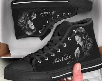 66df2c7ca27308 Elvis Presley Shoes - Rock n roll Art Shoes - Custom Shoes - Rock Festival  Shoes - Converse Shoes Limited Edition