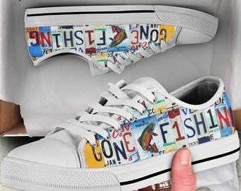 6d47d5bd1b5a68 Gone Fishing Shoes - Custom Canvas Shoes - Women