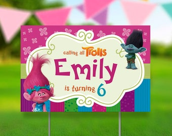 Troll Birthday Yard Sign With Stand