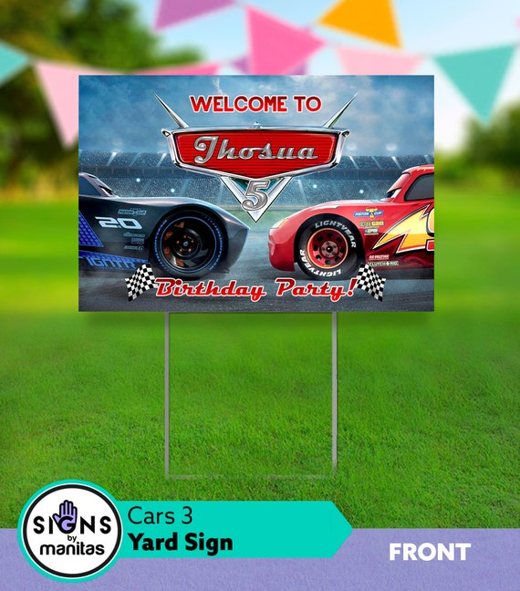 Cars 3 Birthday Yard Sign Car Decorations