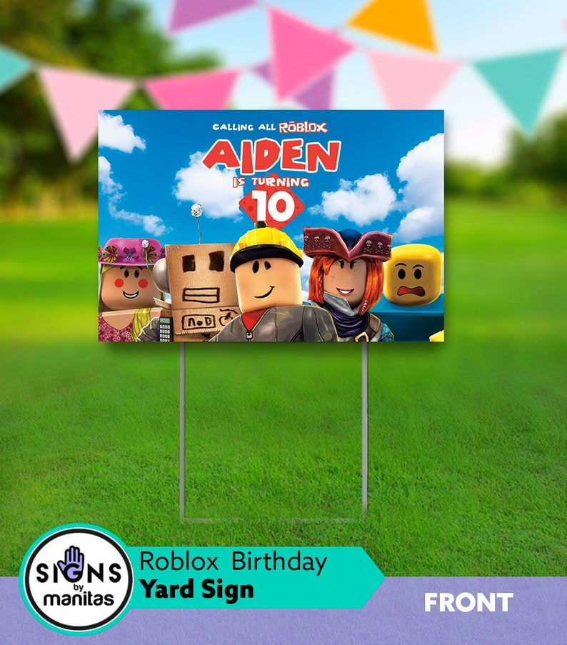 Roblox Yard Sign With Stand Party Birthday Home Front Decorations
