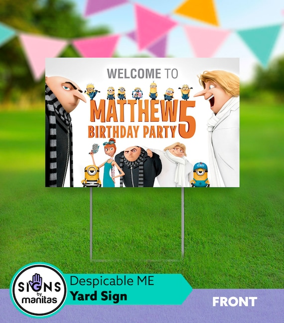 Despicable Me 3 Party Yard Sign Birthday