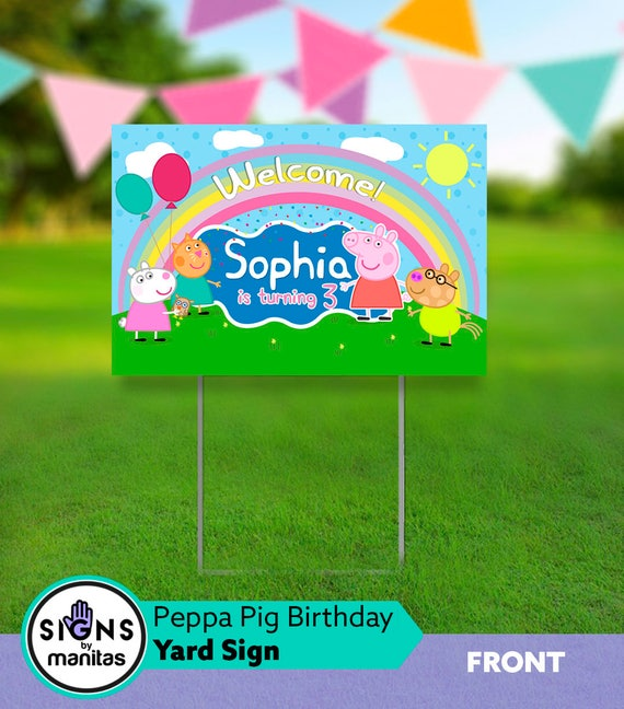 Peppa Pig Birthday Yard Sign With Stand