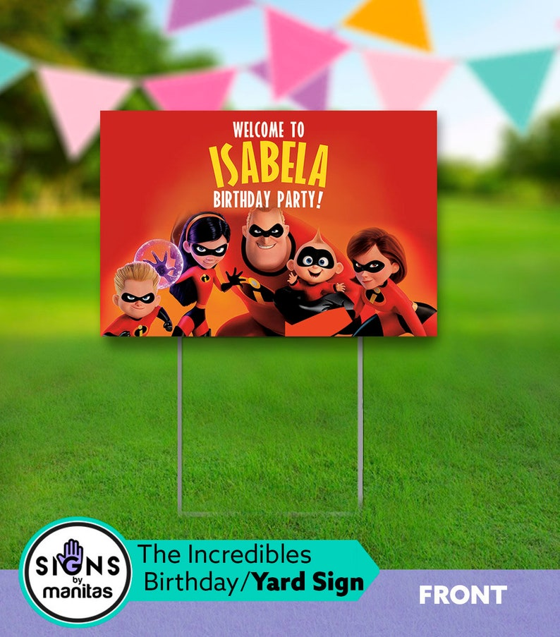 The Incredibles 2 Party Sign With Stand