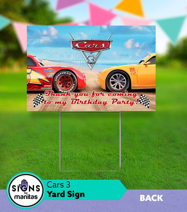 Cars 3 Birthday Yard Sign Car Decorations