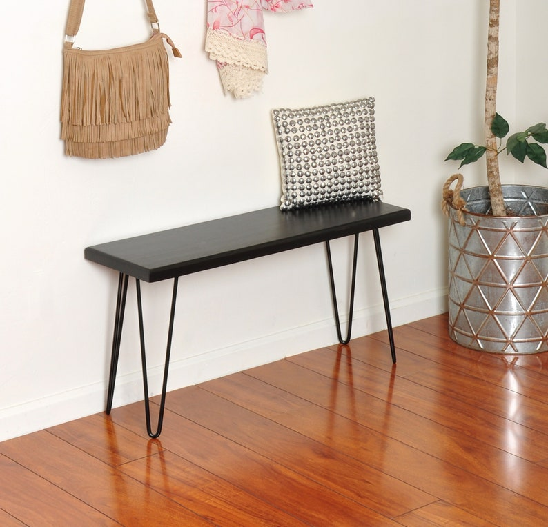 Fine Hairpin Leg Entryway Bench Wood And Metal Bench Small Side Table Wooden Bench Modern Bench Small Entryway Bench Mudroom Bench Bralicious Painted Fabric Chair Ideas Braliciousco