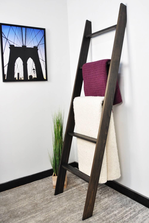 Blanket Ladder / 20ft Ladder / Quilt Ladder / Black ladder / Contemporary  Home / Towel Rack / Leaning Ladder / Decorative Ladder