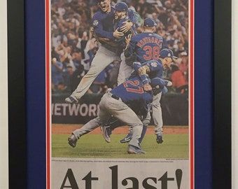 7bf0ff3645d Chicago Cubs - 2016 World Series - Chicago Tribune Newspaper - Double  Matted   Framed (Official Team Colors)