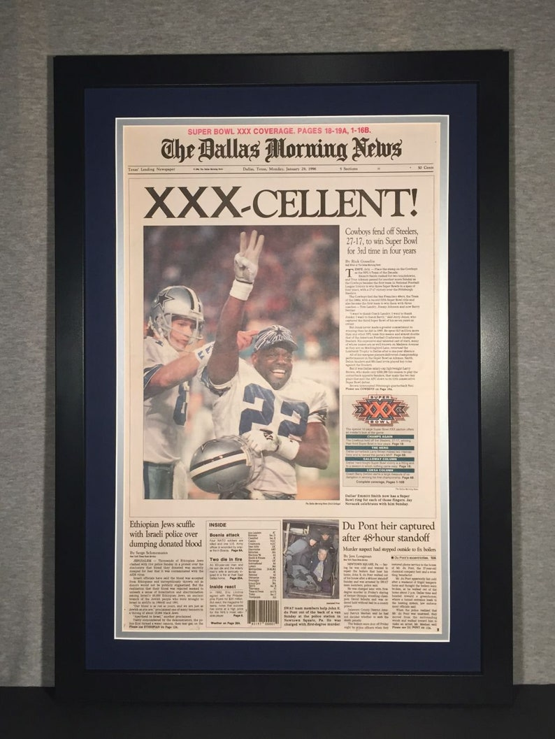 Dallas Cowboys 1996 Super Bowl XXX Champions Newspaper  be634e3b1