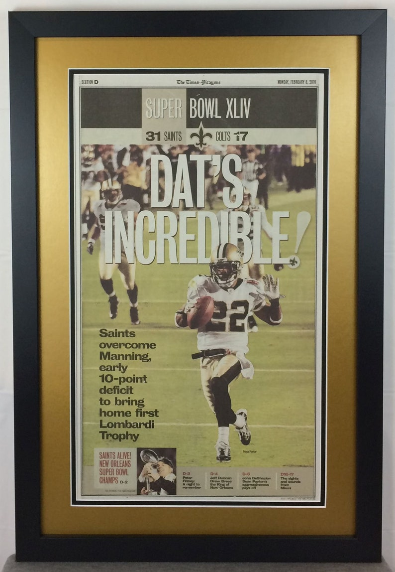 8a7f4f5e New Orleans Saints - 2010 Super Bowl XLIV Champions - The Times Picayune  Newspaper - Double Matted & Framed (Official Team Colors)