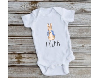 390313c73 PERSONALISED PETER RABBIT vest babygrow gift bodysuit baby boy girl clothes  BG12
